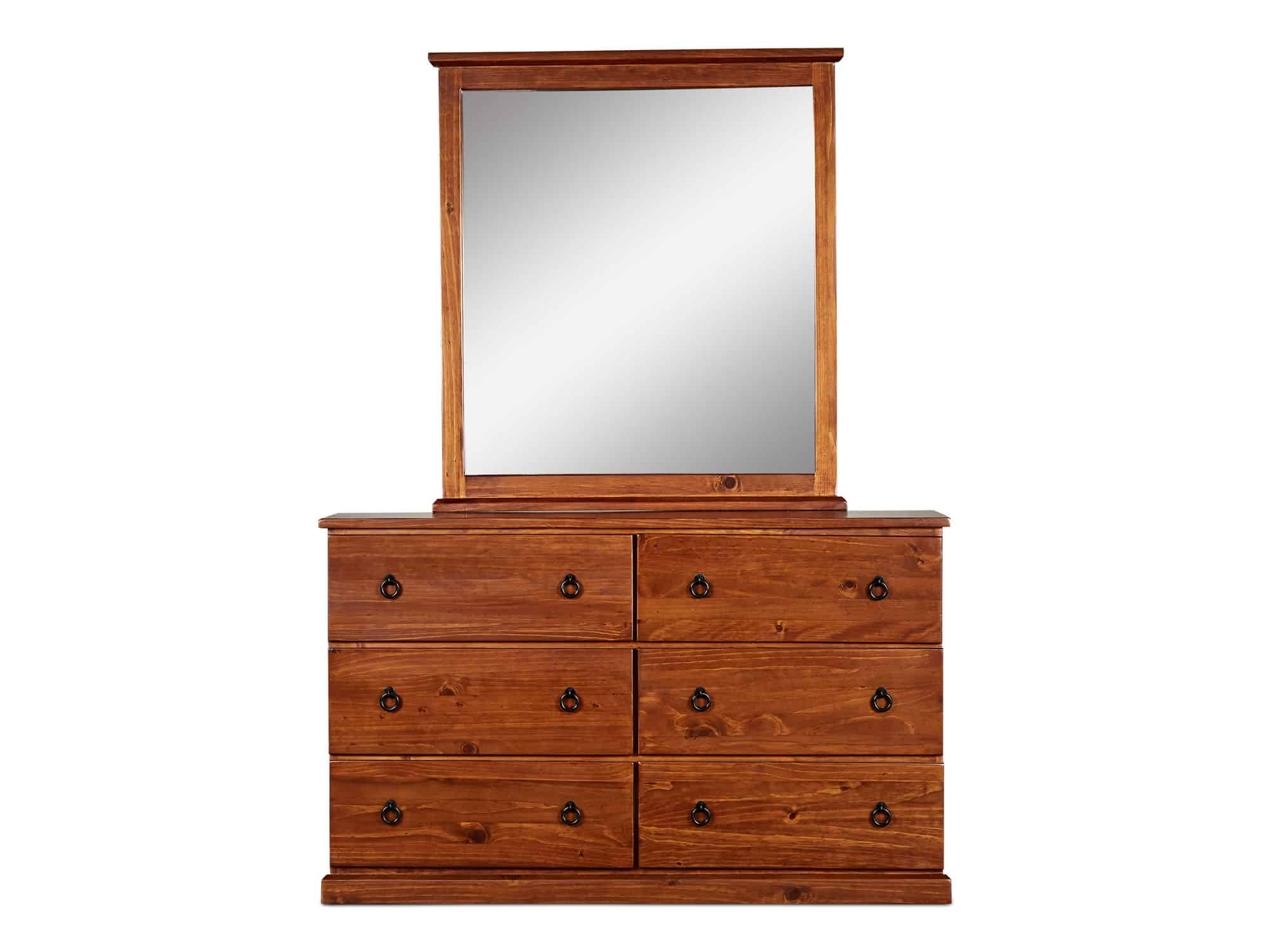 dressers big save furniture 14275 | pinehurst 6 drawer dresser with mirror front